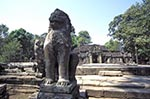 Cambodia;Cambodian;Kampuchea;Asia;Southeast_Asia;_Ancient;Anthropology;Archaeology;Architecture;Art;Art_history;Civilization;Culture;History;Indochina;Khmer;Khmer_Empire;UNESCO;World_Heritage_Site;Angkor;Siem_Reap;Stone_lion;courtyard;Banteay_Kdei