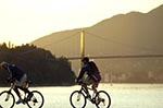 Canada;Canadian;North_America;British_Columbia;Cyclists;people;Canadians;persons;Stanley_Park;sunset;Vancouver;Vancouver