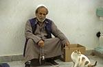 Libya;Libyan;Africa;aged;arid;barren;cats;deserts;domestic_animals;elderly;fauna;felines;male;mammals;man;mature;men;older;people;Libyans;person;persons;people;Libyans;seniors;Darna;Old;man;cat