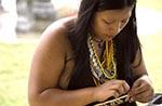 Panama;arts;Central_America;crafts;female;handicrafts;Latin_America;Panamanian;people;Panamanians;person;persons;people;Panamanians;woman;women;San_Blas;woman;weaving;basket;Gatun_Yacht_Club